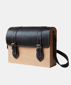 GRAV GRAV - Black Satchel Wood Bag $140