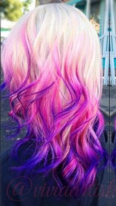 Hair Color Ombre Pink Curls 36 Ideas For 2019 - hair - Hair Color Hair Color Purple, Cool Hair Color, Pink Hair, Purple Ombre, Hair Colors, Blonde Pink, Purple Bob, Blonde Hair, Brunette Ombre