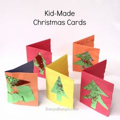 Kid-made Christmas Cards using bubble wrap details. Fun process-orientated art and craft idea for preschoolers. ~ Danya Banya