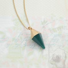 Gold dipped blue jasper stone pendant