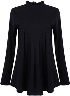 Black Stand Collar Long Sleeve Pleated Blouse - Sheinside.com
