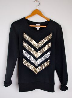 "The ""Dazzle Me Chevron"" Sweatshirt  w/ Sequin Chevron/Arrow Design Shirt - Liam Payne Tattoo"