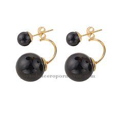 diseños de zarcillos Aretes de perla negro