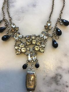 """Vintage Assemblage Necklace Black Cat Whimsical Festooned Gothic Wiccan """" The Witching Hour"""" Rhinestone Watch Jet Beads Bib style Vintage Jewelry Crafts, Old Jewelry, Custom Jewelry, Jewelry Art, Antique Jewelry, Jewelery, Jewelry Accessories, Fine Jewelry, Handmade Jewelry"""