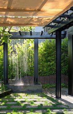 pergola to height of fence. water/rain from top. pergola in line with the top of the trellis Use rain water to create a waterfall feature in the garden