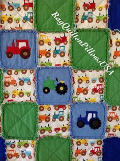 Tractor Baby Quilt Tractor Quilt Tractor by RagQuiltsnPillowsUSA