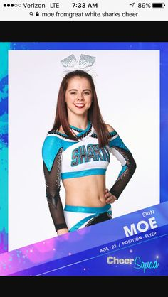 CHEER SQAUD MOE Cheerleading Photos, Cheer Stunts, Cheerleading Outfits, Great White Sharks Cheer, Cheer Dance Routines, Cheer Posters, Cheer Team Pictures, Cheer Extreme, Cheer Picture Poses