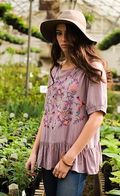 short sleeve lilac floral embroidery blouse 100% rayon handwash