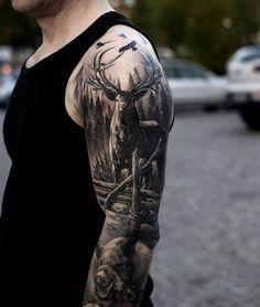 Realistic Deer In The Woods Sleeve Tattoo Venice Tattoo Art with regard to measurements 1080 X 1276 Full Sleeve Hunting Tattoos - Sleeve tattoos are Boy Tattoos, Badass Tattoos, Skull Tattoos, Animal Tattoos, Tattoos For Guys, Body Art Tattoos, Tatoos, Tattoo Boy, Bicep Tattoos