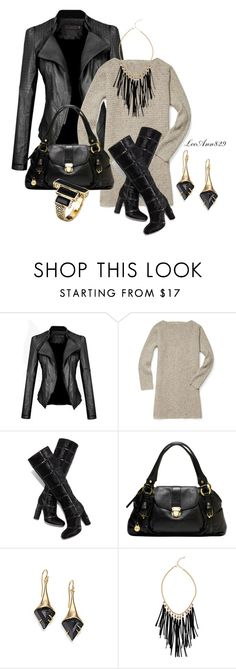 leather jacket and dress for fall contest by leeann829 on Polyvore featuring Rebecca Minkoff, Tom Ford, House of Harlow 1960, Akira and Alexis Bittar