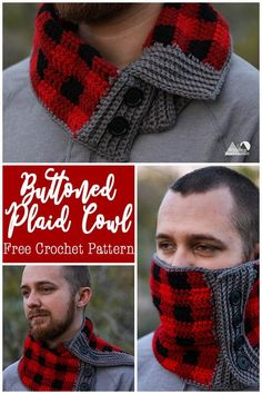 Crochet this buttoned plaid cowl with this free crochet pattern . Crochet this buttoned plaid cowl with this free crochet pattern …. Crochet this buttoned plaid co Beanie Pattern Free, Crochet Cowl Free Pattern, Crochet Motifs, Free Crochet, Scarf Patterns, Easy Patterns, Pattern Ideas, Free Knitting
