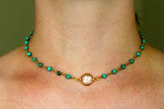 Turquoise howlite rosary choker with a small quartz by LINETWO