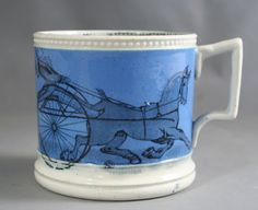 Child`s mug with Trotting and Beggar print, circa1850. More stock available at www.martynedgell.com