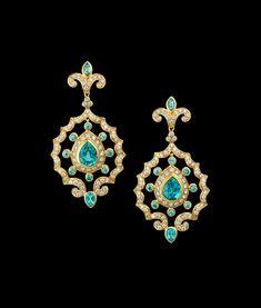 Paula Crevoshay Zircon Earring Tops with Diamond and Emerald Earring Drops Coral Jewelry, High Jewelry, Jewelry Stores, Gemstone Jewelry, Emerald Earrings, Drop Earrings, Contemporary Jewellery Designers, Blue Zircon, Gemstone Colors