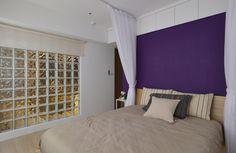 顛覆傳統的男女刻板印象,男主人喜歡紫色,所以床頭牆刷上薰衣草紫色,散發出濃厚的戀人情調
