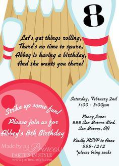Bowling Birthday Party Printable Invitation - DIY