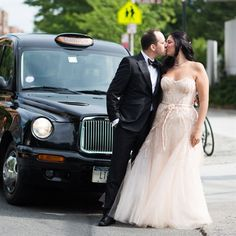 I like that the limo is captured with the bride and groom.