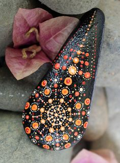 painted rocks, painted stone, mandala rocks,  orange red mandala, unique shape rock, special stone art, meditation stone, unique gift by KarinGetazArt on Etsy