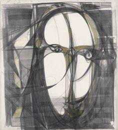 thunderstruck9: Marisa Merz (Italian, b. 1926), Untitled, 1988. Graphite, charcoal and acrylic on paper, 65.5 x 150 cm.