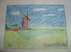 Molen in weiland - 22-06-2007 (Zo leer ik tekenen, een complete gids - Angela Gair) Holland, Diy, Painting, Everything, First Grade, Kunst, The Nederlands, Bricolage, Painting Art