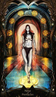Tarot: 9 of Pentacles by on DeviantArt Male Witch, Beautiful Dark Art, Online Tarot, Daily Tarot, Witch Art, Tarot Readers, Pentacle, Oracle Cards, Tarot Decks