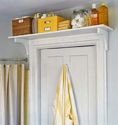 Put shelves over any doorways for additional storage space.