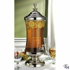 Godinger Monticello Shannon Crystal Metal and Glass Beverage, Drink, Punch, Dispenser 2.5 Gallon by Godinger Silver Art Co Ltd, || approx 100.00 retail.