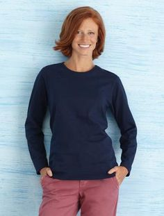 """GILDAN® HEAVY COTTON™ MISSY FIT LONG SLEEVE T-SHIRT. #5400L. 8.9-oz, 100% cotton preshrunk jersey knit. 1/2"""" rib collar. Taped neck and shoulders. Sizes: SM - XXL. For more information, competitive pricing and ordering details contact: ww.Fivetwentyfour.ca   #promotionalproducts"""