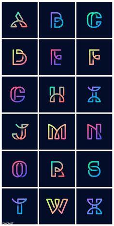 Colorful retro alphabets vector set free image by wan Design Alphabet, Hand Lettering Alphabet, Alphabet Fonts, Calligraphy Alphabet, Calligraphy Fonts, Creative Lettering, Lettering Design, S Logo Design, Vector Design