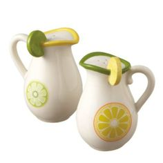 Lemon and Lime Pitcher Salt and Pepper Shakers Midwest by Midwest CBK. $12.00. Ceramic. New for spring 2012. Acetate Gift box. Very cute and decorative citrus themed salt and pepper shakers bring freshness to your kitchen or tabletop.   Makes a great gift too.