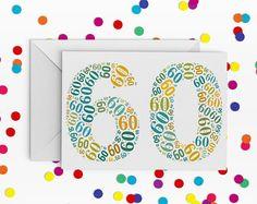 60 Birthday Card,  Number sixty Card, 60th Birthday, Happy Birthday Card, 60th Birthday Card, just a card, milestone birthday