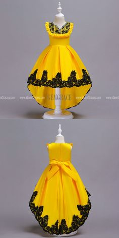 Hi Lo Yellow with Black Lace Satin Flower Girl Dress For Juniors at GemG. Cheap Flower Girl Dresses, Wedding Dresses For Girls, Dresses Kids Girl, Kids Dress Wear, African Dresses For Kids, African Wear Dresses, Latest African Fashion Dresses, Dress Fashion, Girls Frock Design