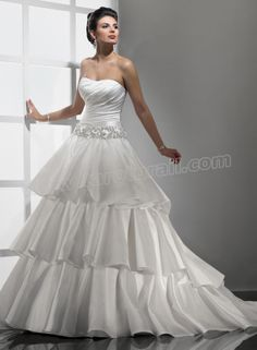 Tiered Valencia Asymmetrical Ruched Strapless Dipped Neckline Ball Gown Wedding Dress