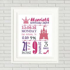 Baby Girl announcement cross stitch/baby cross stitch/custom cross stitch/Princess Birth Announcement/baby shower gift/baby girl cross by CrossStitchFactory on Etsy