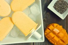 Coconut Mango Chia Pops A delicious treat that packs a healthy dose of healthy fat, protein, vitamins, and minerals and fiber Ingredients: Healthy Kids Party Food, Healthy Meals For Kids, Healthy Popsicles, Homemade Popsicles, Yummy Treats, Delicious Desserts, Yummy Food, Frozen Desserts, Frozen Treats