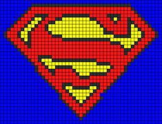 Alpha friendship bracelet pattern added by superman logo super hero. Bead Loom Patterns, Perler Patterns, Beading Patterns, Graph Crochet, Pixel Crochet, C2c Crochet, Cross Stitch Charts, Cross Stitch Patterns, Cross Stitching