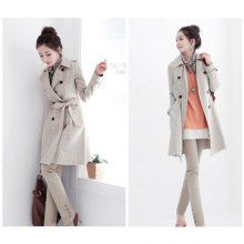 Elegant and Slim Lapel Double-Breasted Lace-Up Long Sleeves Twill+Lining Coat For Women