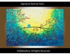 "Moonlight Serenade  Abstract painting Hand made Heavy Texture Palette Knife Impasto Tree Branches Birds Wall Decor ""Moonlight Serenade"" by QIQIGallery, $345.00"