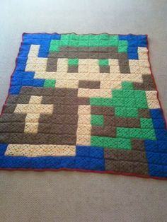 Custom Crochet Blanket Afghan Pixel Video Game by Sminostuff