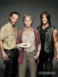 The Walking Dead - Promo shot of Norman Reedus, Andrew Lincoln & Melissa McBride
