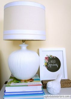 Lamp Makeover - Up to Date Interiors  Give your lamp a new look with ribbon and paint!