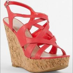 Daytrip 'Donna' Wedge Coral wedge with cork sole. Daytrip Shoes Wedges