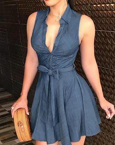 2020 Women Blue Mini Casual V-Neck Dress Female Party Dresses Sleeveless V-Neck Tie Waist Shirt Dress Trend Fashion, Look Fashion, Fashion Wigs, Swimwear Fashion, Fashion Women, Ruched Dress, Belted Dress, Skater Dress, Sexy Dresses