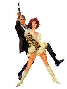 Robert McGinnis, Arabesque, 1966    McGinnis's attention to detail was such that when he was assigned to do the artwork for Arabesque he requested Sophia Loren's tiger stripe dress be sent for him for a model to wear so he could get the right appearance.