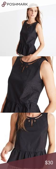 """NWT MADEWELL Embroidered Peplum Top Size Medium NWT. A swingy ruffle and cutout embroidery, this peplum top is a morning-to-night wonder (just check out the subtle peekaboo effect at the neck). Keep it casual, make it fancy—this tank is just so versatile. 22"""" length, 19"""" bust. Thanks for shopping my closet! Madewell Tops"""