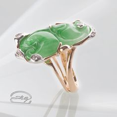 Anello Giada Imperiale e diamanti - oro 18kt - Ring: Imperial Jade and Diamonds gold 18kt - Precious Jewelry - Jewels - Silvia Kelly Gioielli - Italy - www.quelchevale.it