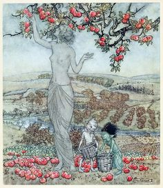 Arthur Rackham, frontispiece to A dish of apples, by Eden Phillpotts, London, 1921.