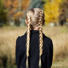 jehat hair — Dutch braided pigtails with rope twisted accent &...