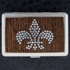 Business card holder id case black white star silver metal wallet business card holder id case rhinestone fleur de lis silver metal wallet blingy reheart Choice Image
