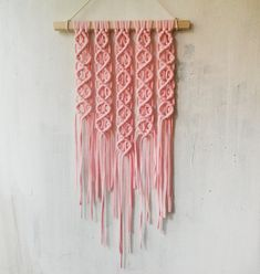 Pink macrame wall hanging Plaited hygge home decor Modern macrame Boho home decor Nursery decor Macrame wall art by CozyJoyDecor on Etsy